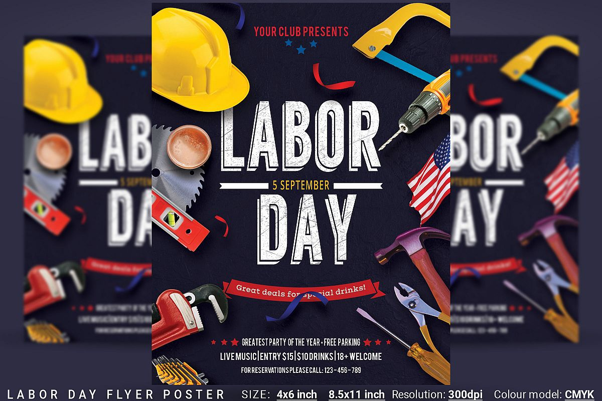 Labor Day Flyer Poster example image 1