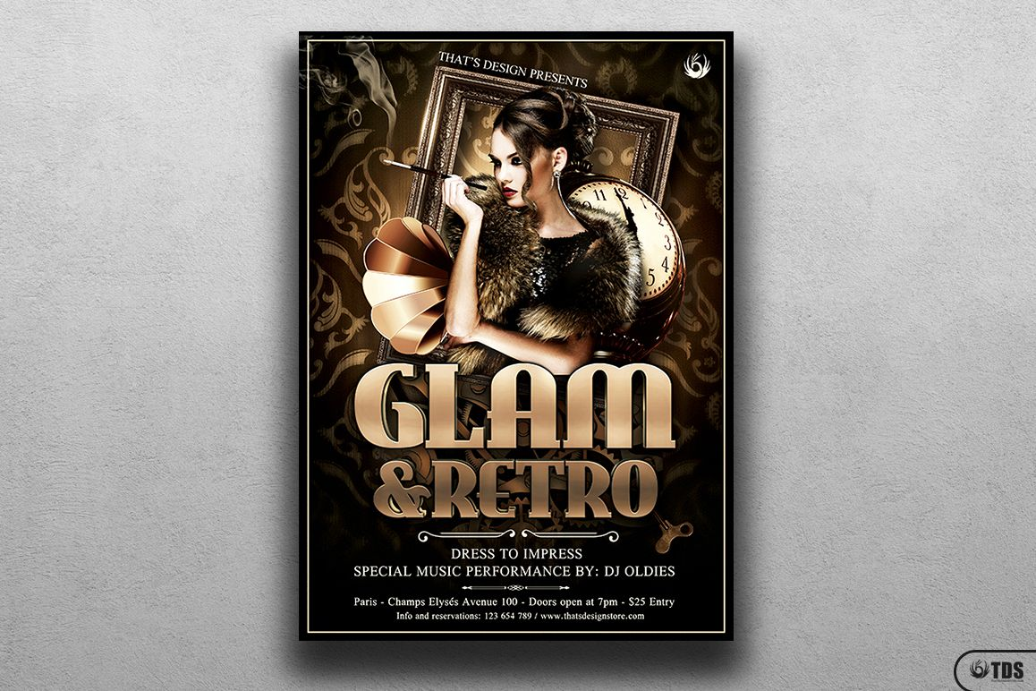 Retro Glam Flyer Template V2 example image 1