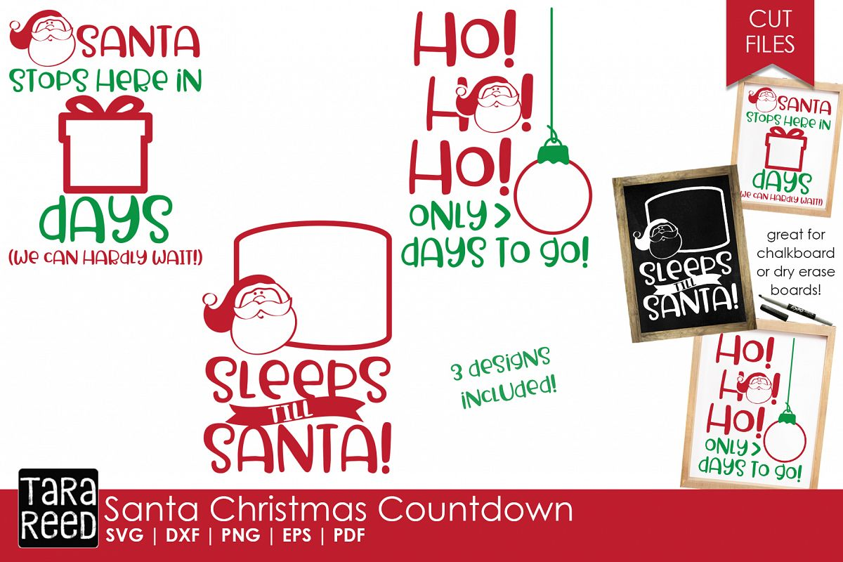 How Many Days Left Until Christmas.Santa Christmas Countdown Christmas Svg Files For Crafters