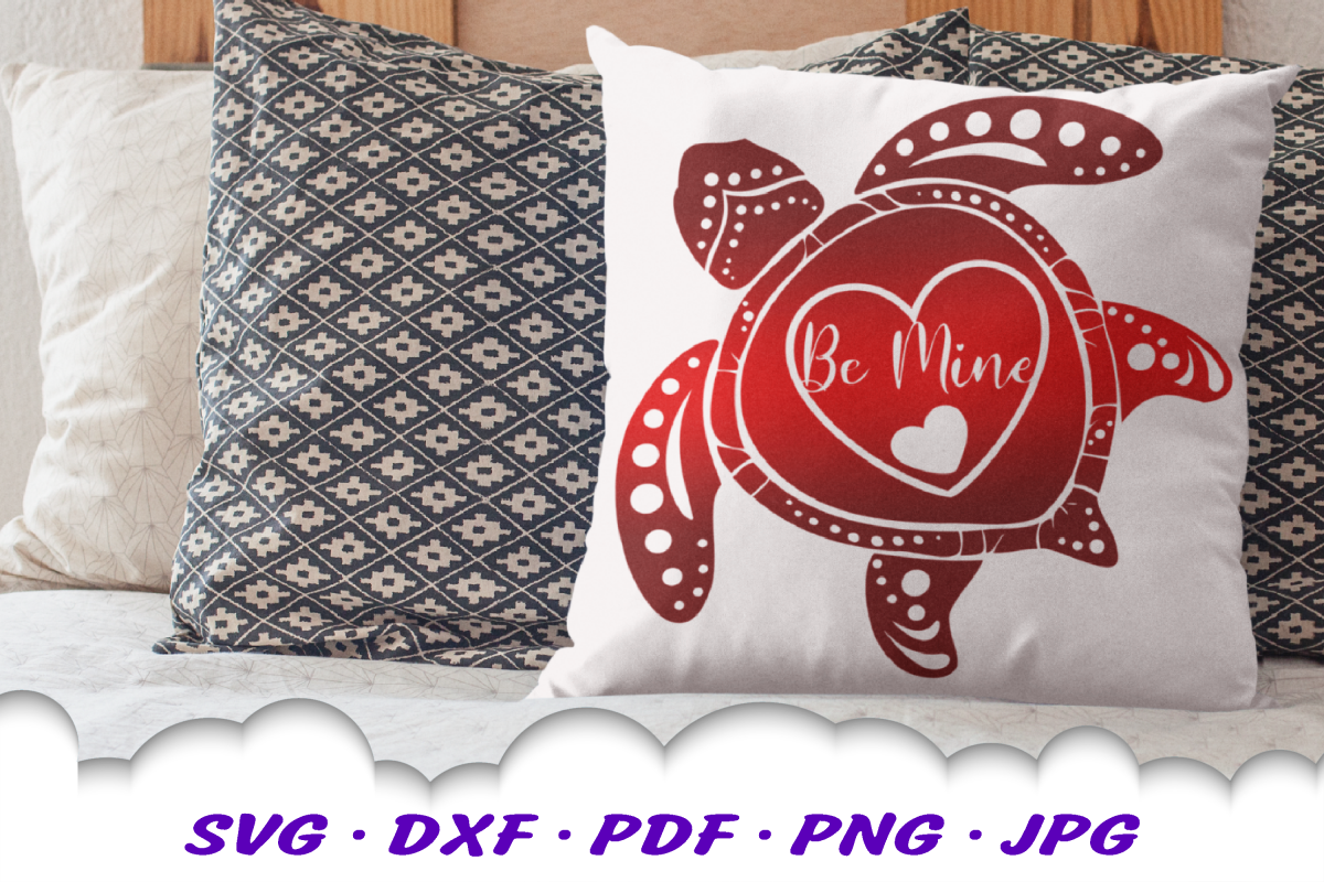 Valentines Sea Turtle Hearts Be Mine SVG DXF Cut Files example image 1