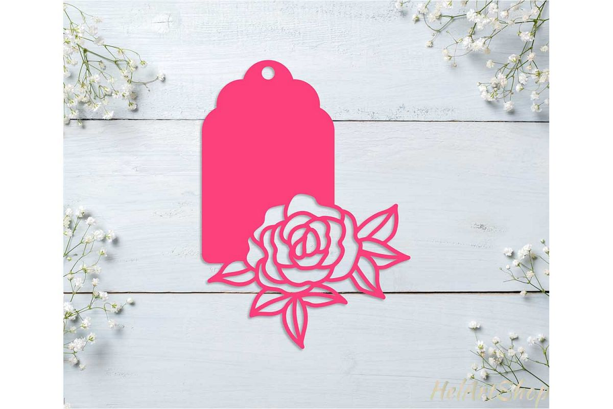 Gift tag svg, Floral tag svg, Decorative tag svg cut file example image 1