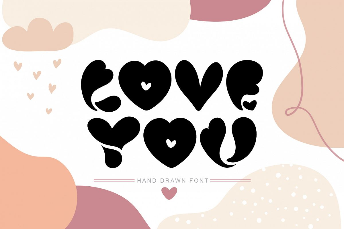 Love You Hand Drawn Valentine Font example image 1