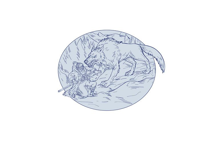 Fenrir Attacking Norse God Odin Drawing Color example image 1