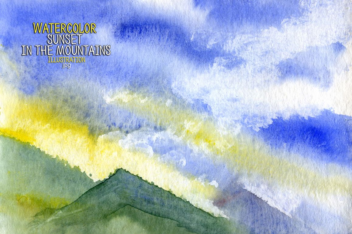 Watercolor sunset in the mountains example image 1