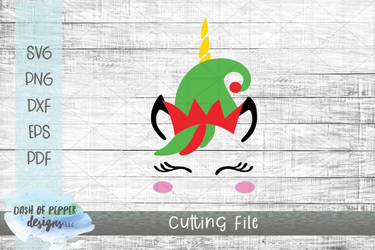 Elf Unicorn SVG - A Christmas SVG example image 1
