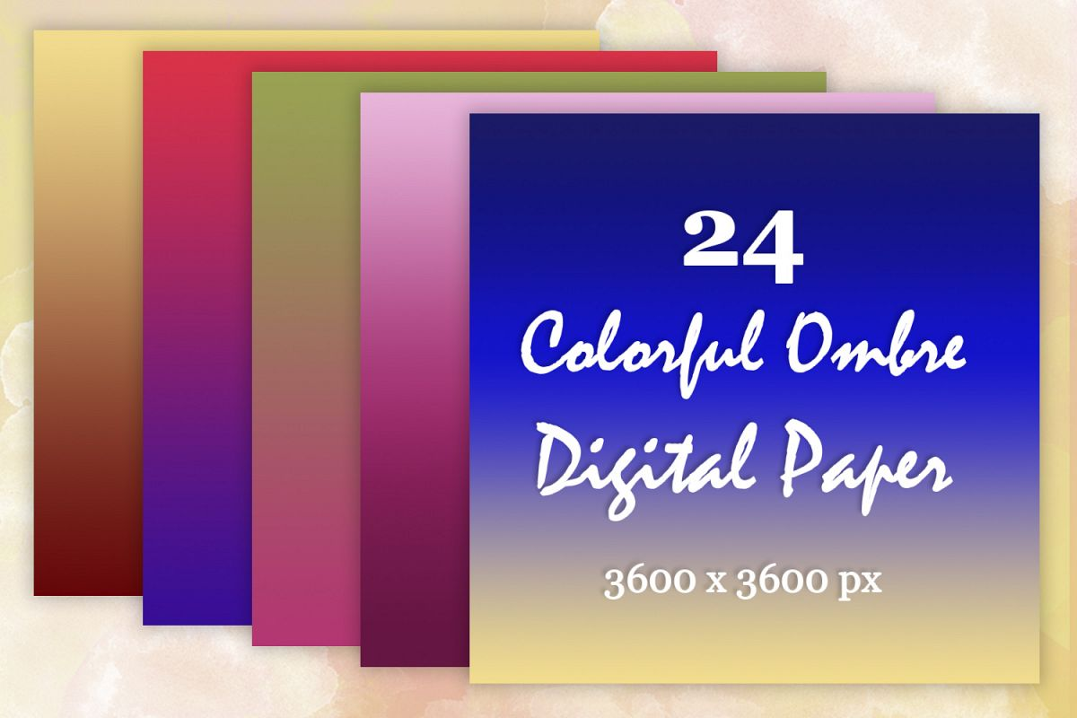 24 Colorful Ombre digital paper pack Textures Background example image 1