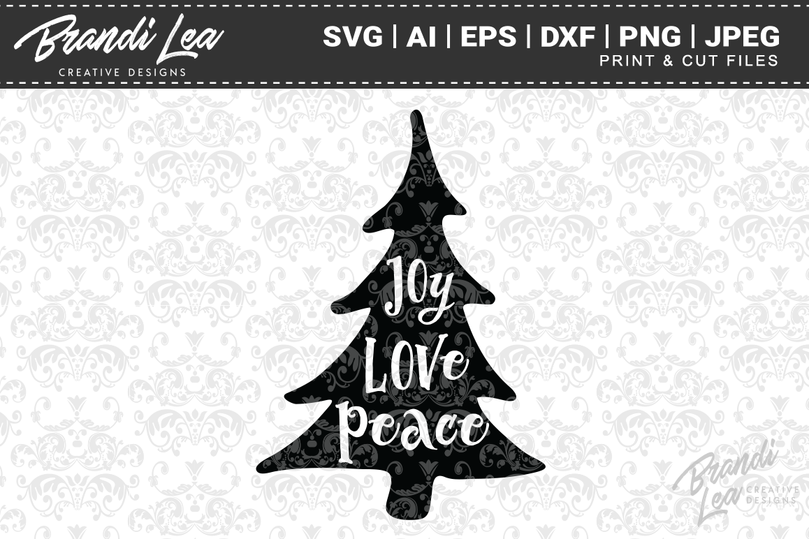 Joy Love Peace Christmas SVG Cutting Files example image 1