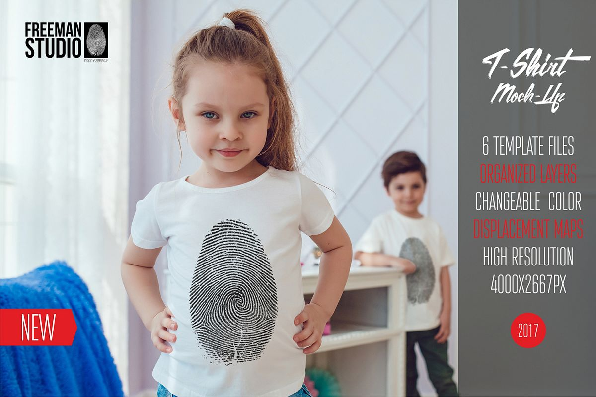 Kids T-Shirt Mock-Up Vol.4 2017 example image 1