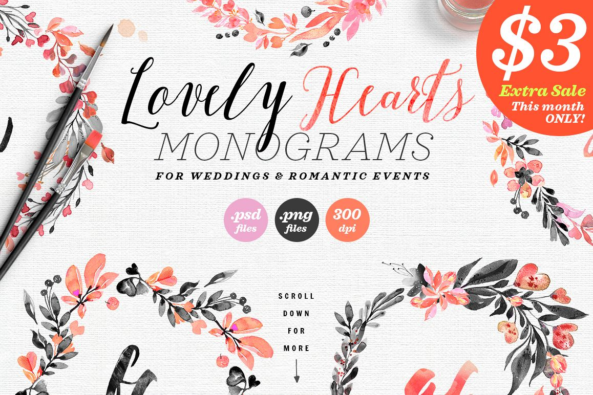 Lovely Hearts Monograms IV example image 1