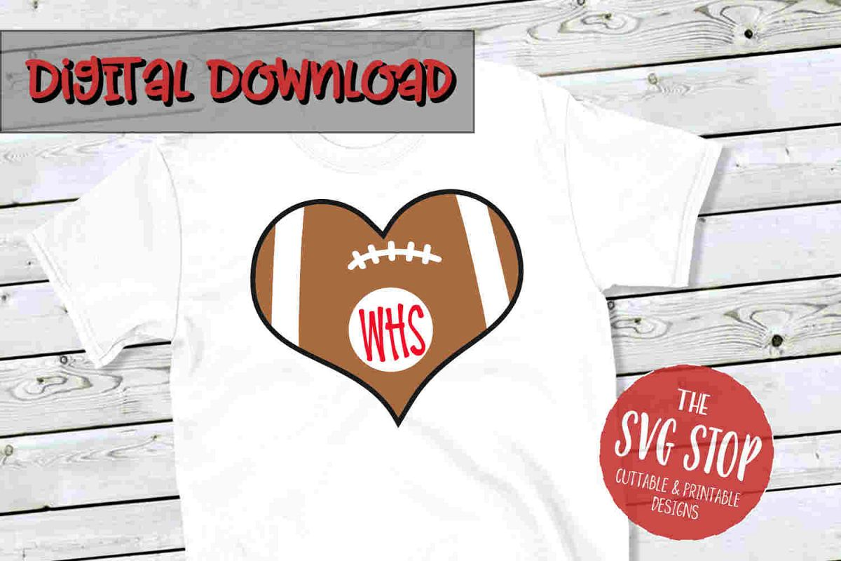 Heart Football 3-SVG, PNG, DXF example image 1