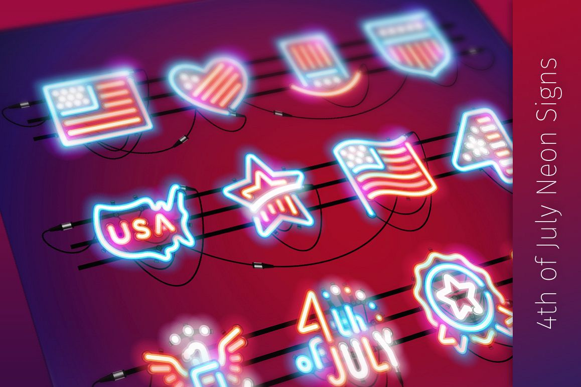 Fourth of July Neon Signs example image 1