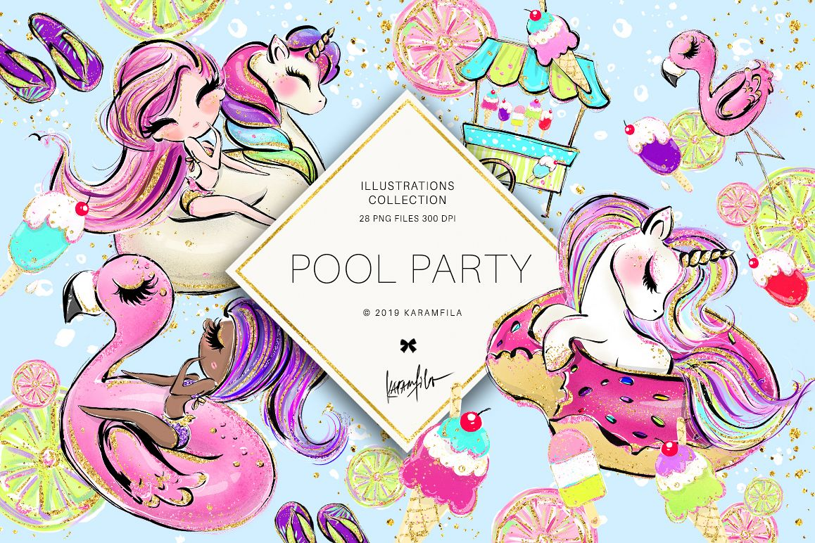 Flamingo summer. Unicorn clipart pool party
