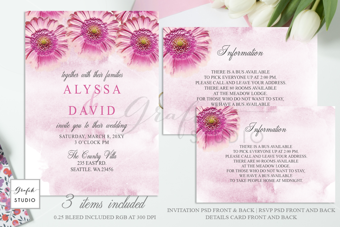 Wedding Invitation Templates.Pink Daisies Floral Wedding Invitation Template