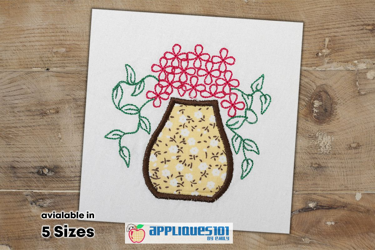 Flowers in Vase Embroidery Applique Design - Flowers example image 1