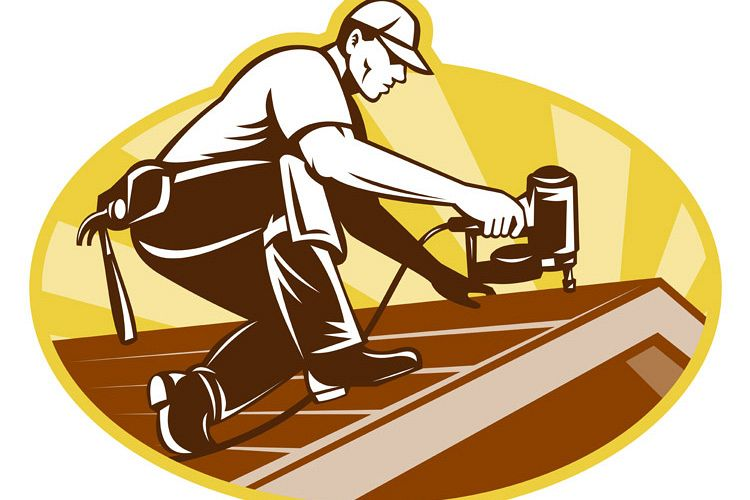Roofer Roofing Worker Working on Roof example image 1