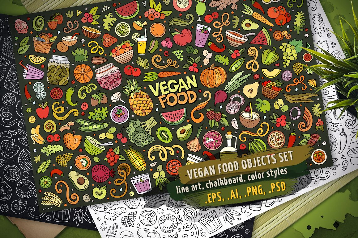 Vegan Food Objects & Elements Set example image 1