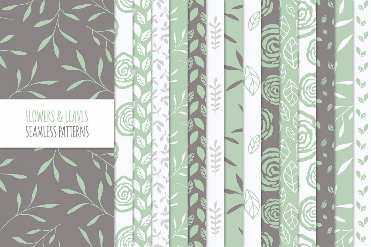 Floral Seamless Patterns - Green example image 1