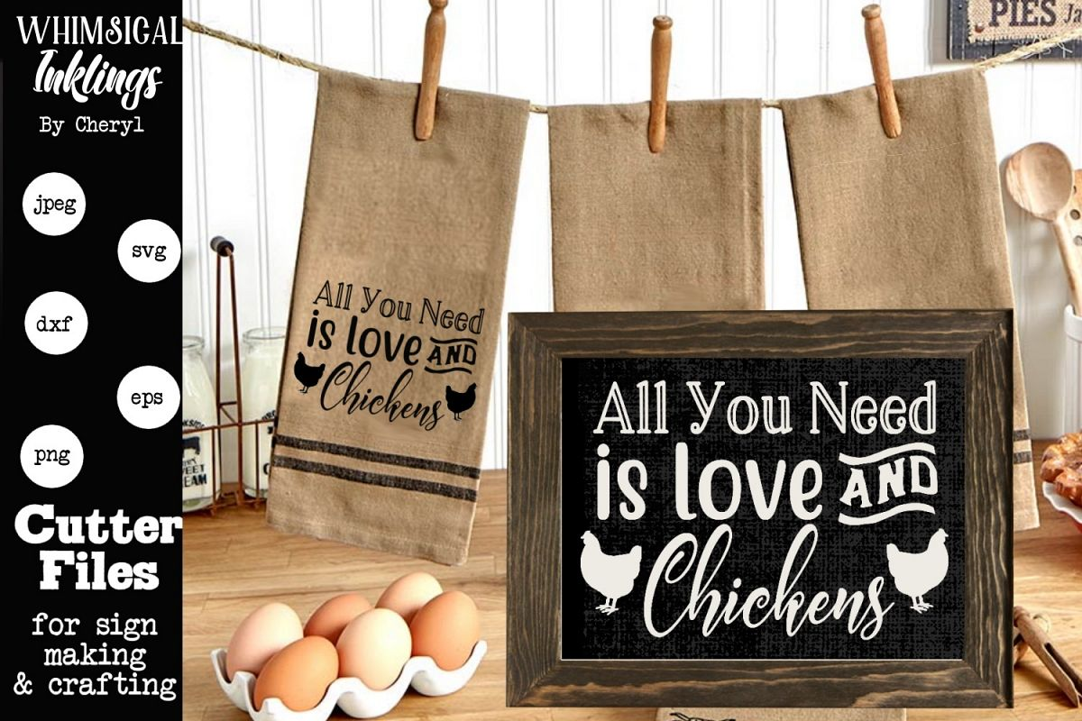 Love and Chickens SVG example image 1
