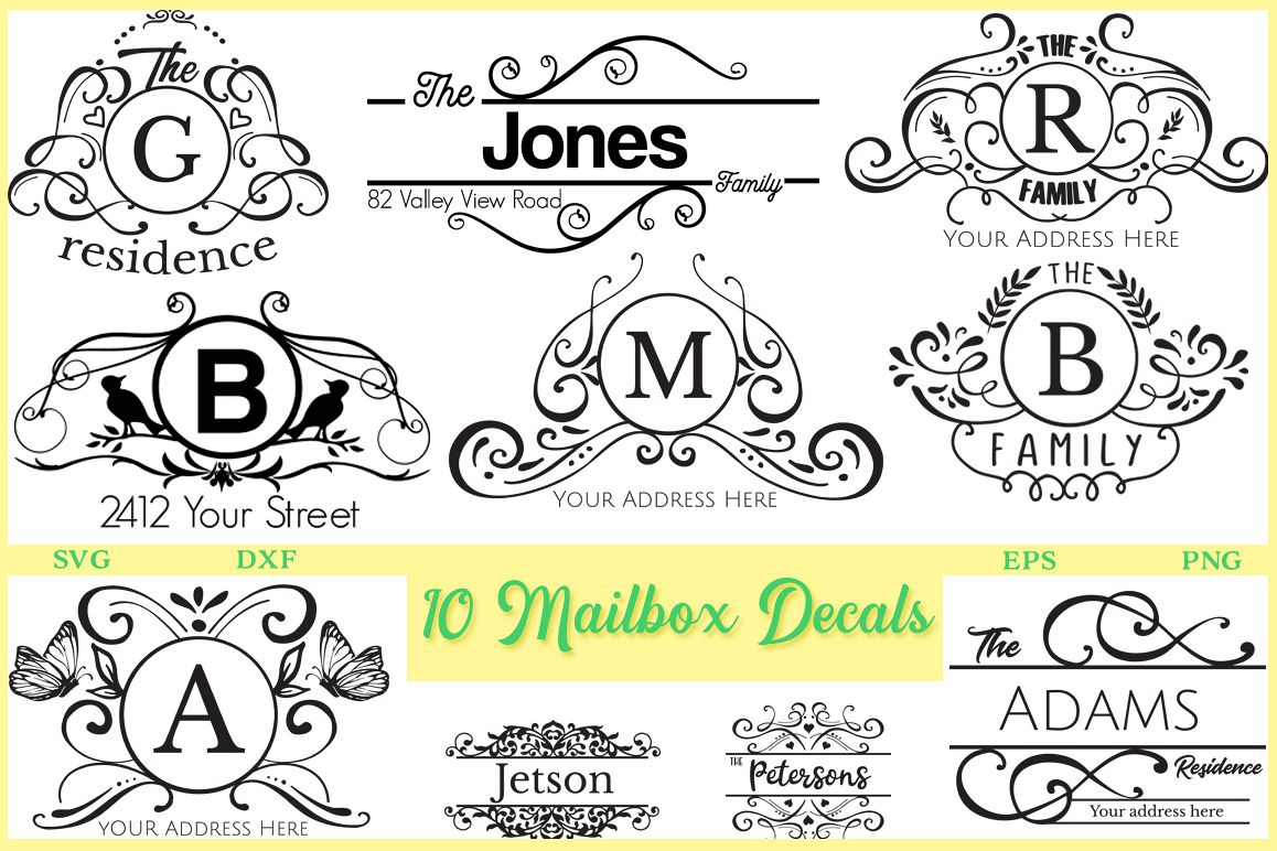 10 Mailbox Decals Pack - SVG DXF EPS and PNG example image 1