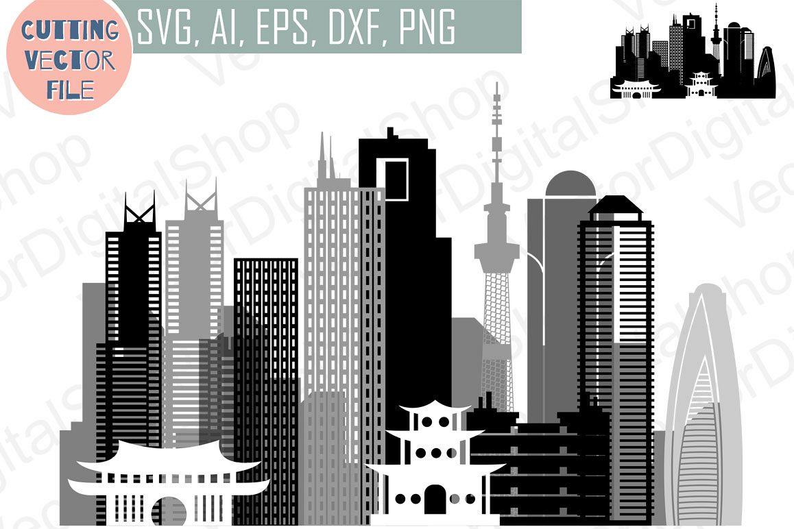 Tokyo  Vector, Japan Skyline city, SVG, JPG, PNG, DWG, CDR, EPS, AI example image 1
