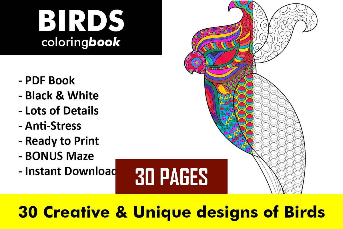 Birds Coloring Book - 30 Unique Birds Designs example image 1