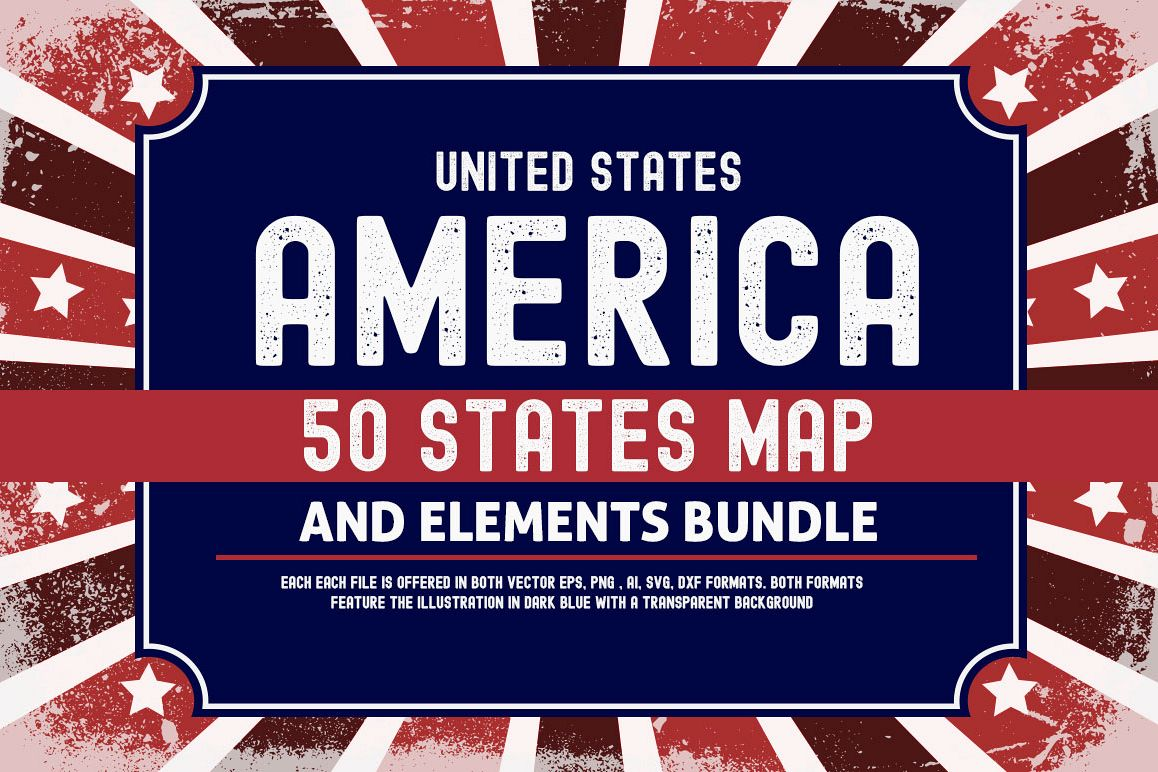 US States 4th July design Element svg example image 1