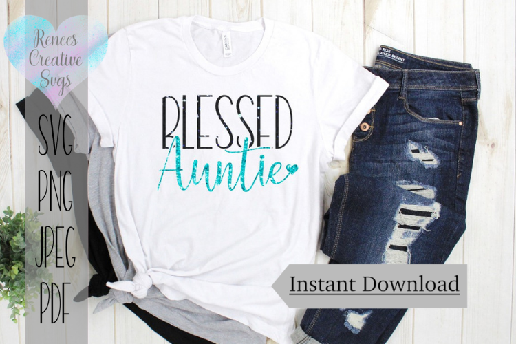 Blessed Auntie W/ Heart | Auntie SVG | SVG Cutting File example image 1