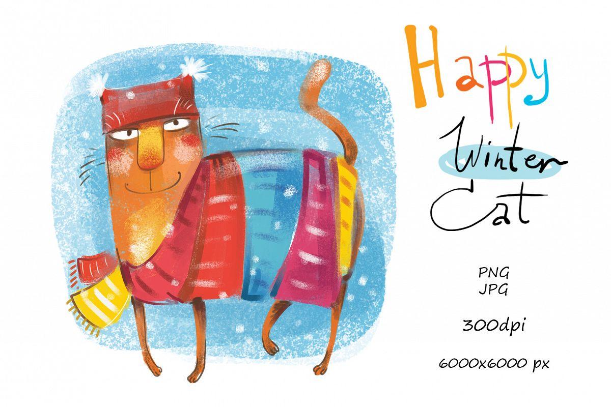 Happy Winter Cat example image 1