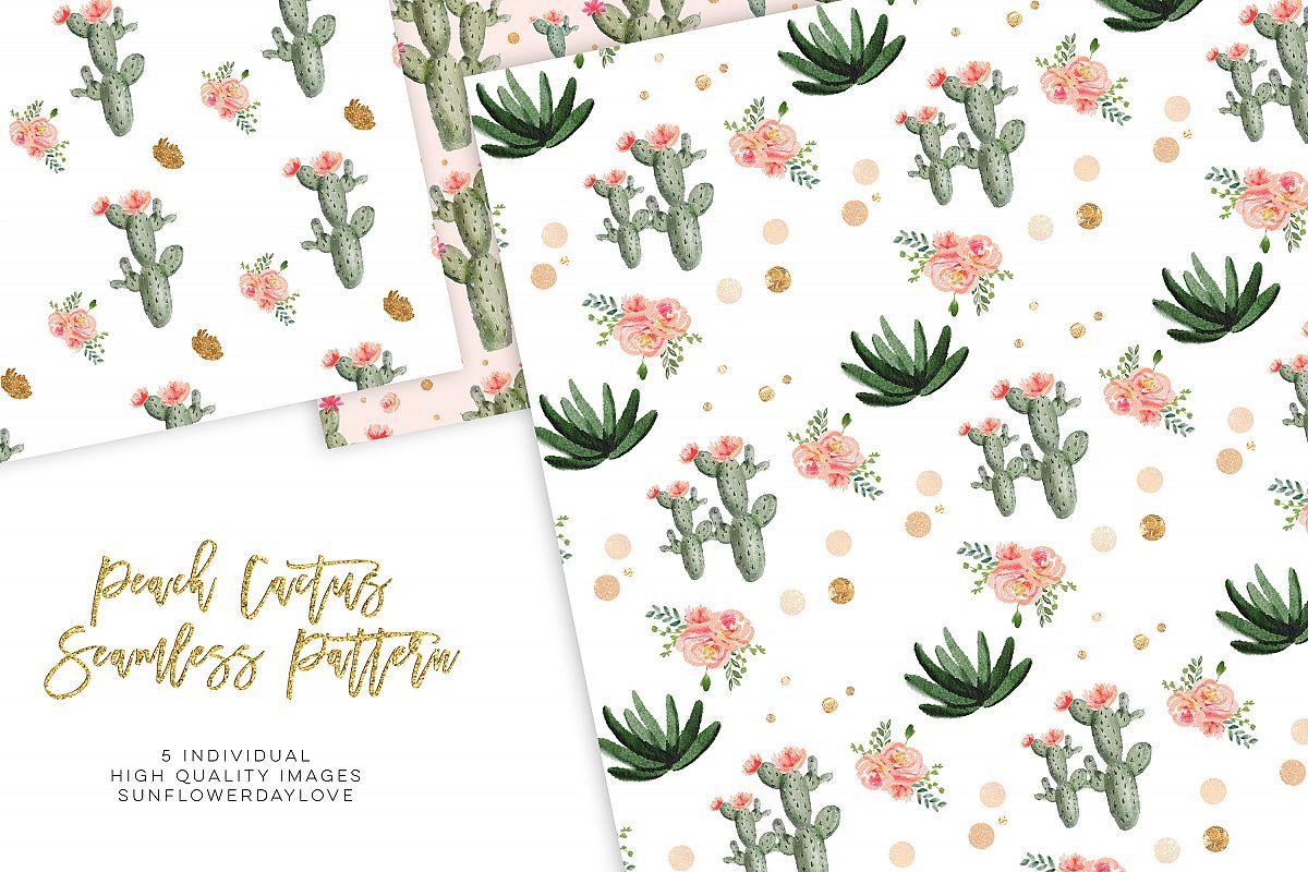Watercolor Cactus Succulents, Digital Paper Pattern Pack example image 1