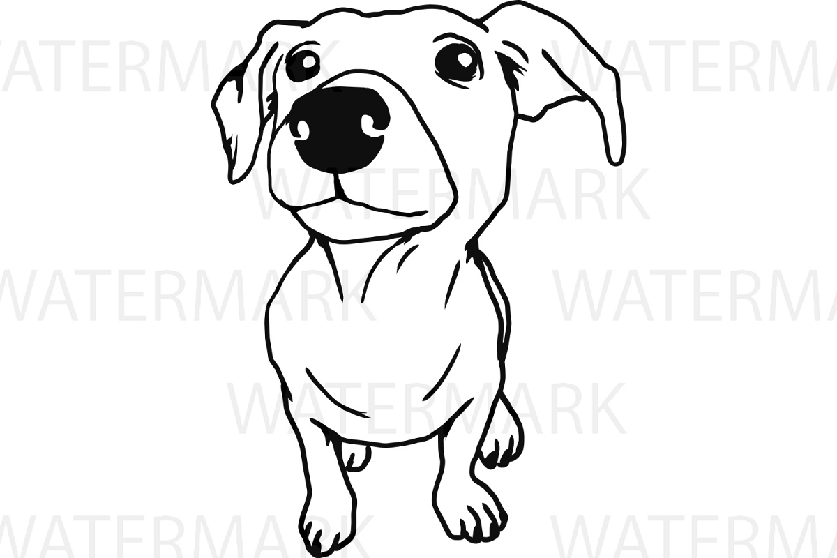 Cute Dogs A Outline - SVG/JPG/PNG Hand Drawing example image 1