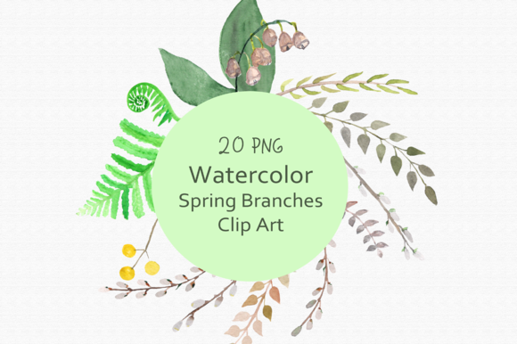 Watercolor Spring Branches Clip Art example image 1