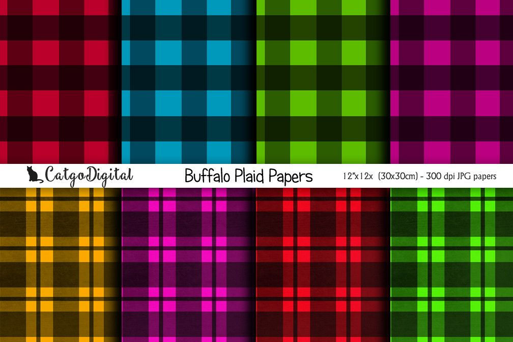 Buffalo Plaid Papers Digital Scrapbooking Pack 12x12