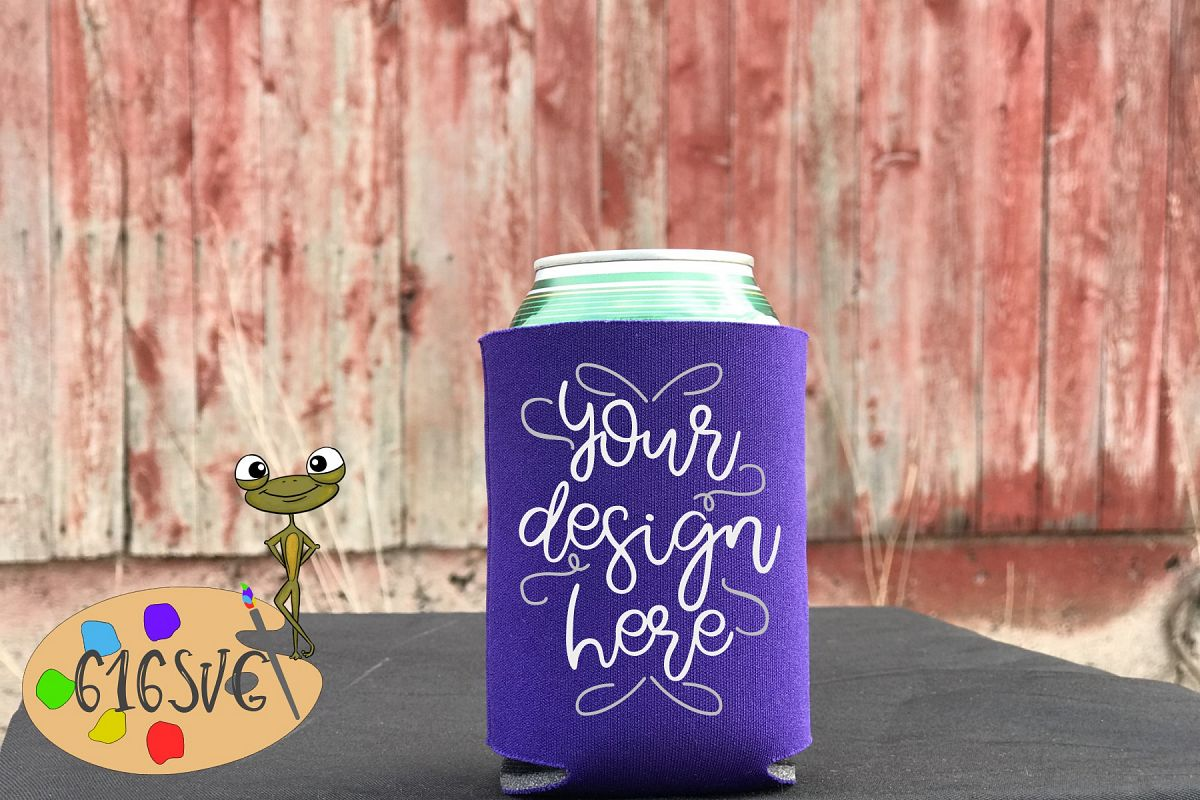 Purple Can Cooler Mockup example image 1