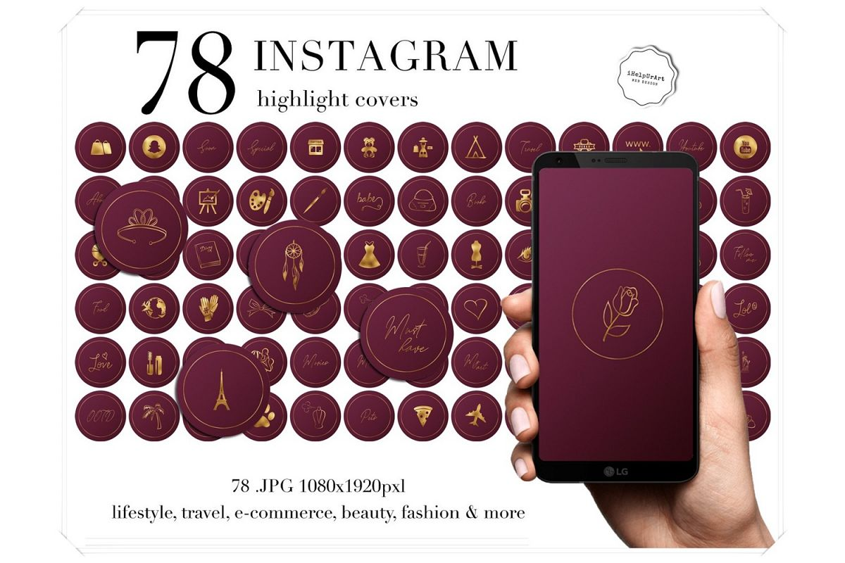 Burgundy Instagram Story Highlight Icons example image 1