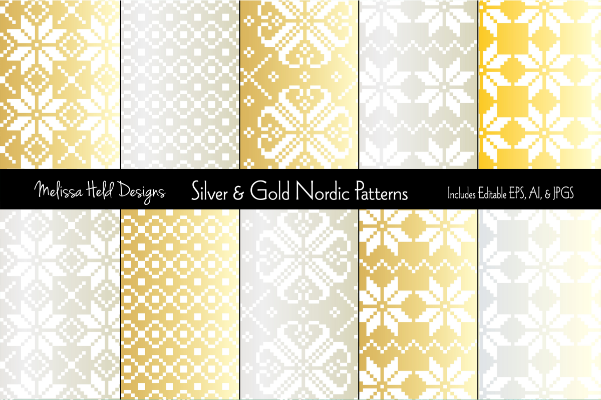 Silver & Gold Nordic Patterns example image 1