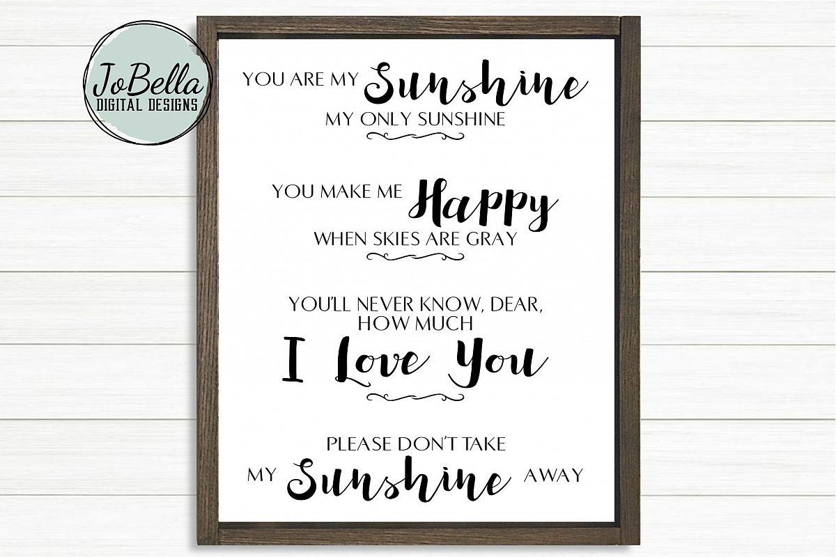 Kids Room SVG & Printable - You Are My Sunshine example image 1