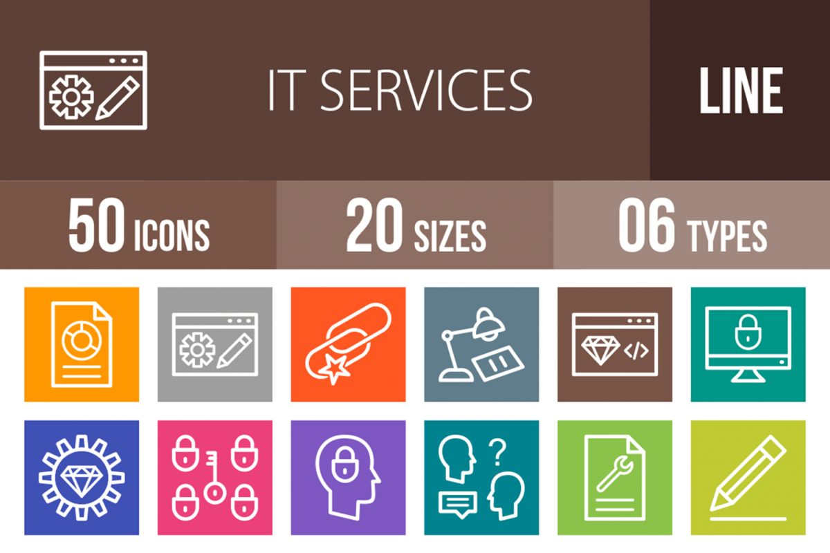 50 IT Services Line Multicolor B/G Icons example image 1
