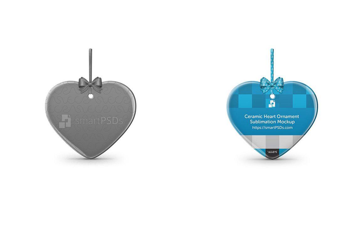Heart Shaped Ceramic Ornament Sublimation Design Mockup example image 1