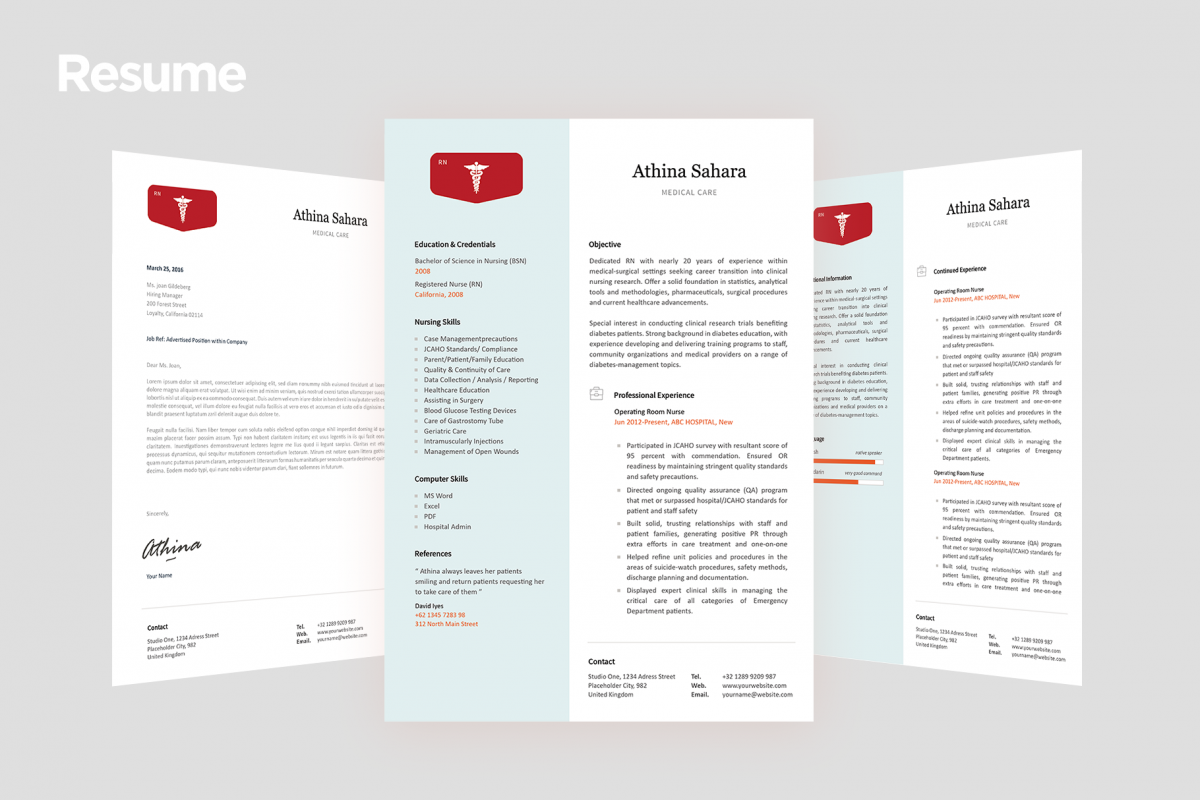 Nurse Resume Templates with Match Cover Letter Templa