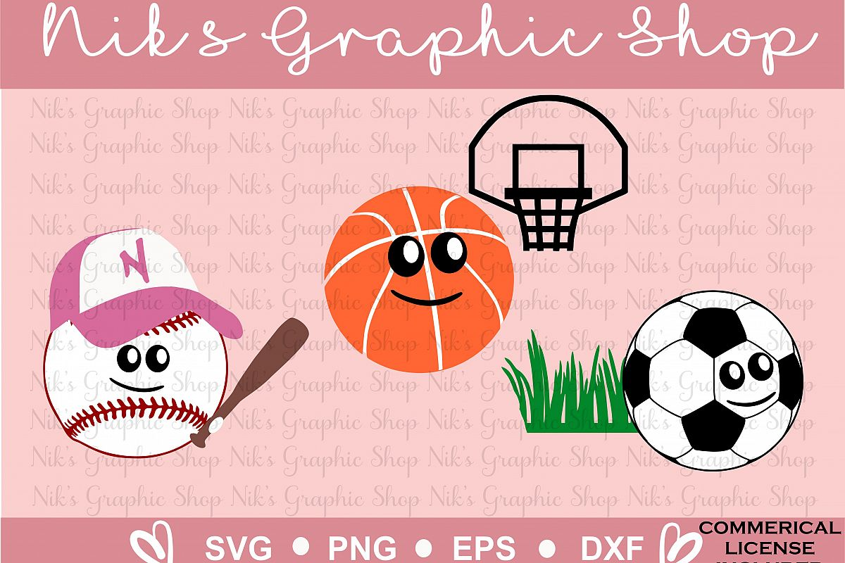 Cartoon Svg, Soccer Svg, Baseball Svg, Basketball Svg, Sports Cartoon, Cartoon Smile, Funny Sports Svg, Sports Svg, Cut Files example image 1