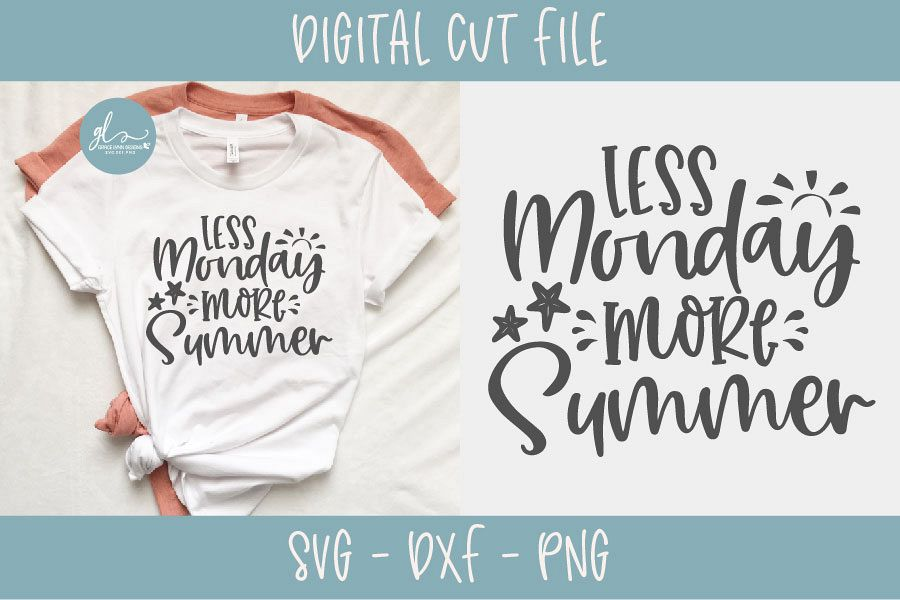 Less Monday More Summer - Summer SVG Cut File example image 1