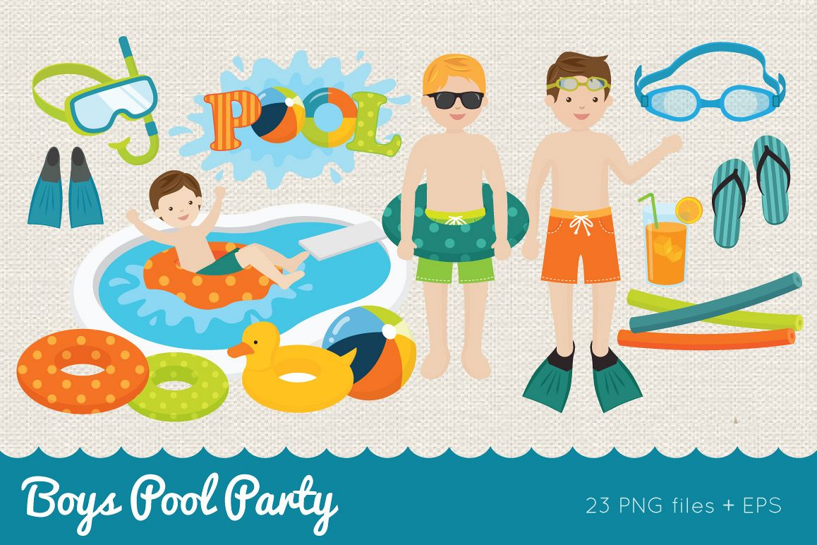Boys Pool Party Clipart example image 1