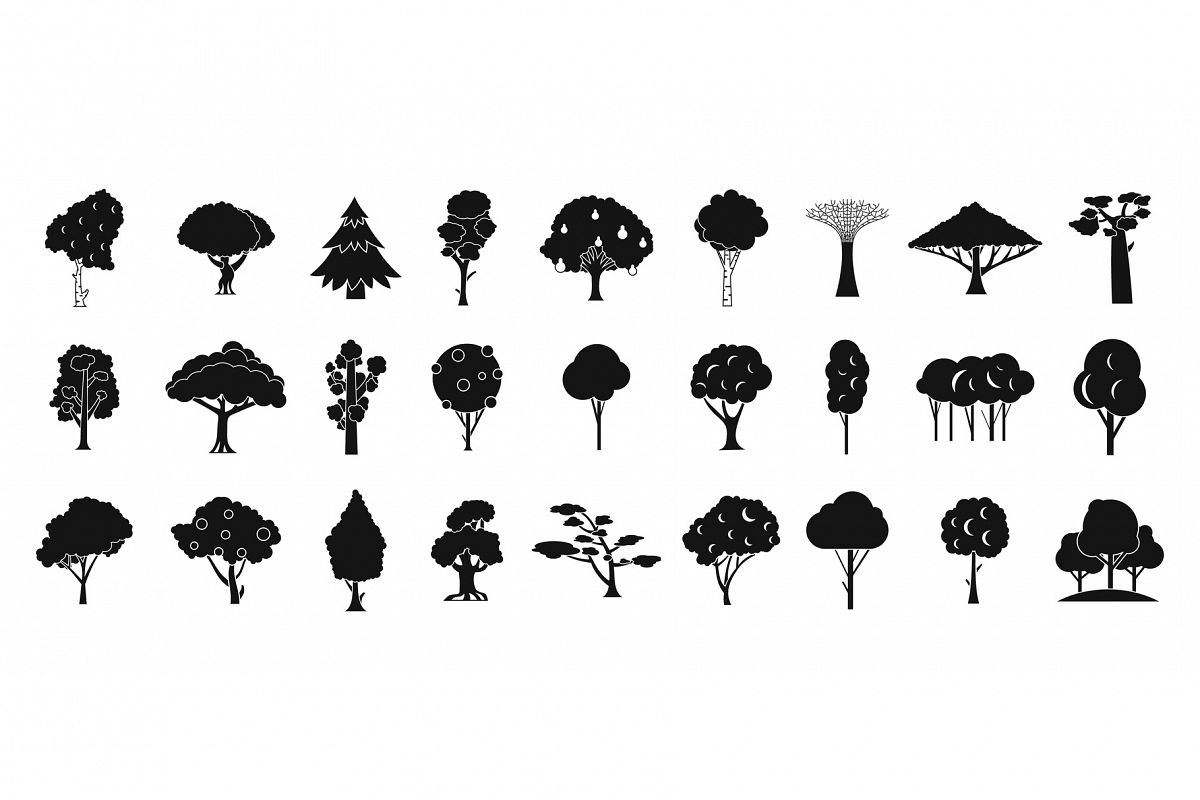 Tree icon set, simple style example image 1