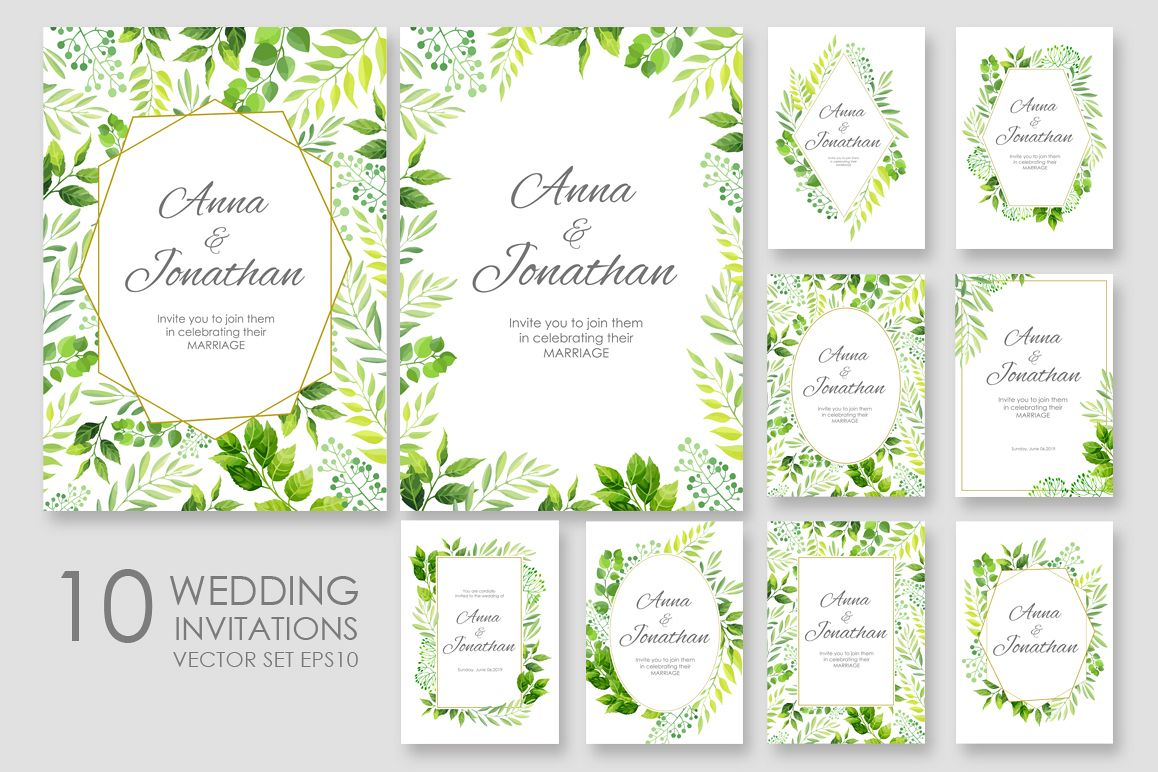 Floral Wedding invitations vector set b | Design Bundles