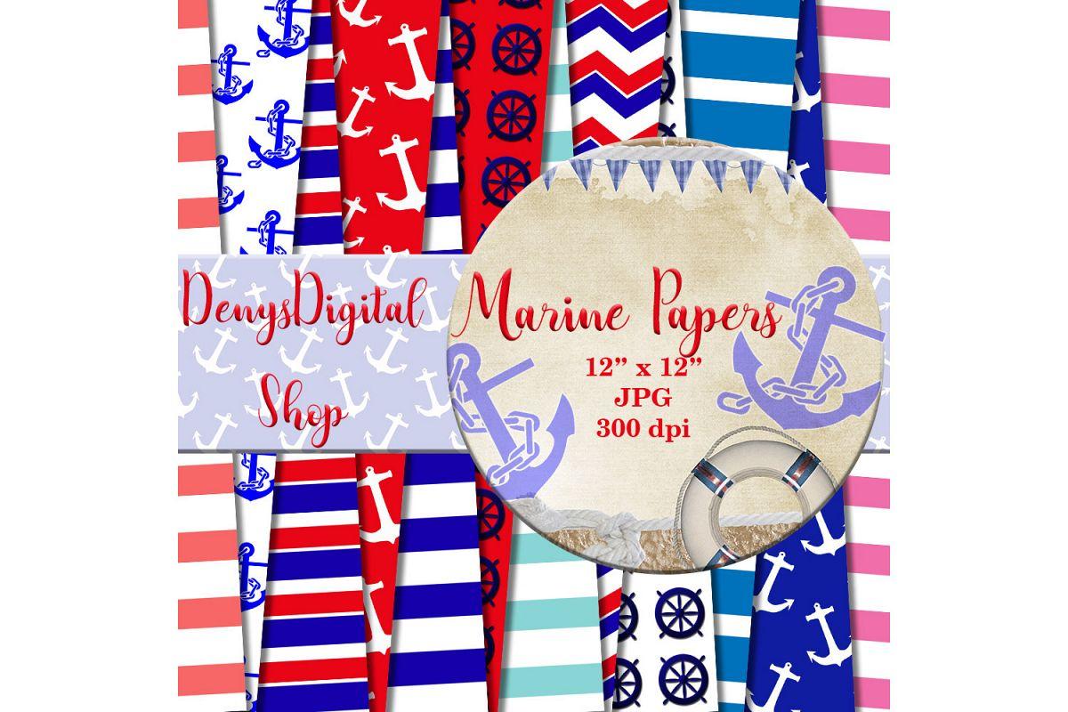 Nautical Digital Paper - Scrapbooking Papers, Marine, SALE example image 1