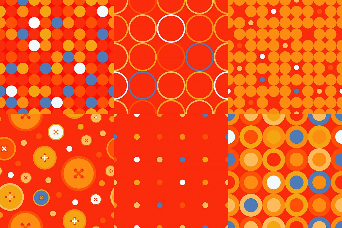Set of 6 Polka dot seamless pattern. Dots, circles and buttons.  example image 1