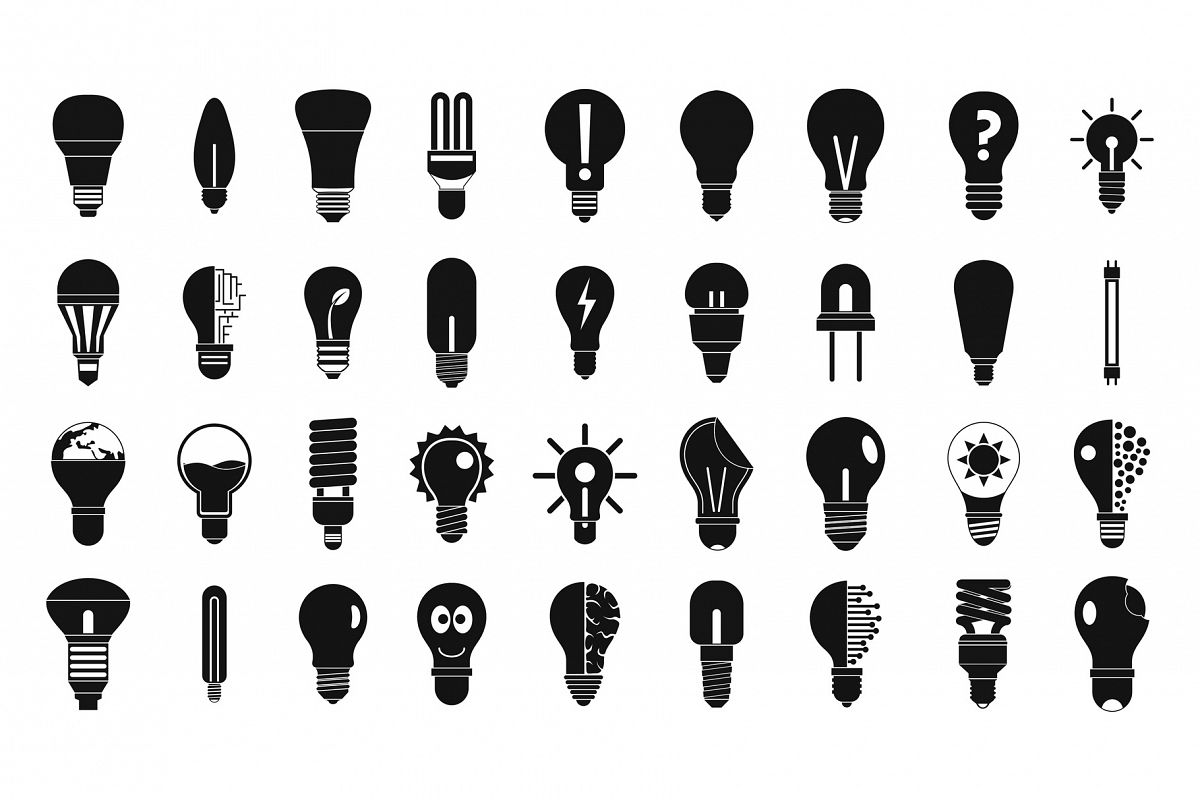 Bulb icon set, simple style example image 1