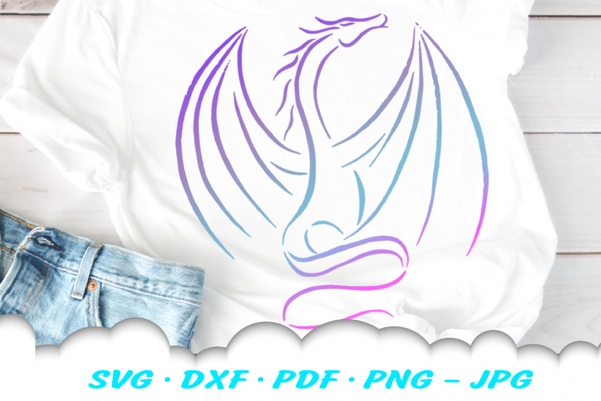Tribal Dragon SVG DXF Cut Files example image 1