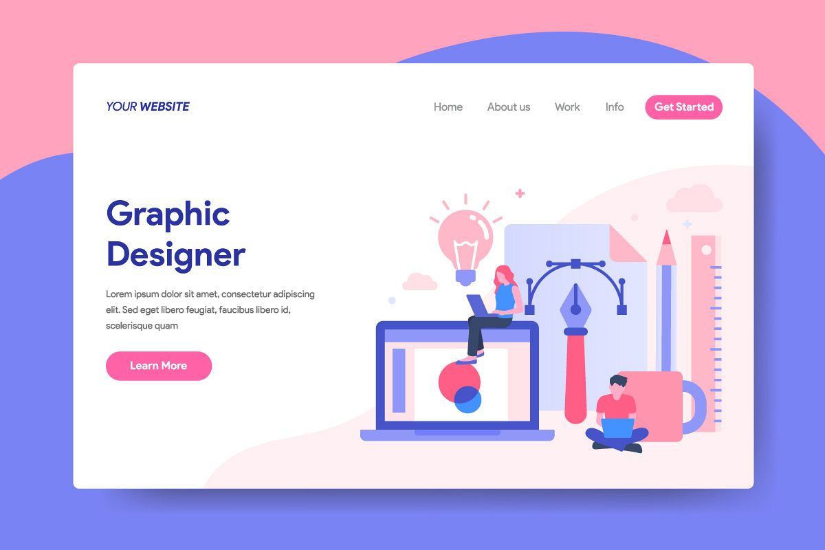 Landing page template of Graphic Designer Concept example image 1