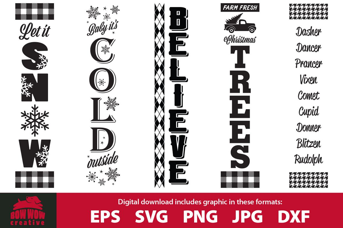 Christmas Winter porch sign bundle - SVG, EPS, JPG, PNG, DXF example image 1